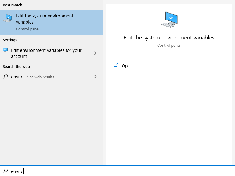 Search Start Menu for Environment Variables